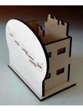 Ξύλινο κάστρο μολυβοθήκη με κρήτη